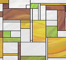 Mondrian Brown Yellow Green  by ImagineThatNYC