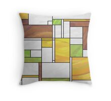 Mondrian Brown Yellow Green  Throw Pillow