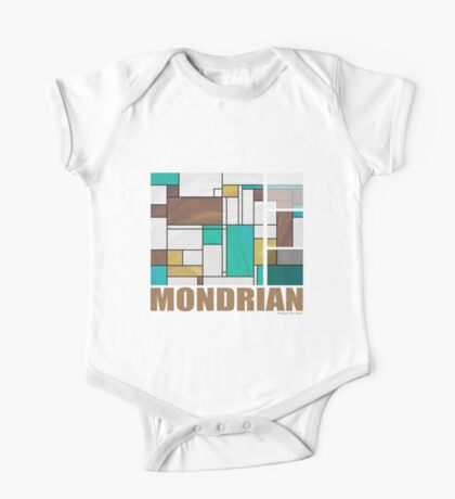 Mondrian Brown Yellow Teal  One Piece - Short Sleeve