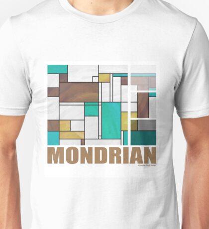Mondrian Brown Yellow Teal  Unisex T-Shirt