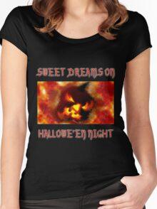 Sweet Dreams On Hallowe'en Night Women's Fitted Scoop T-Shirt