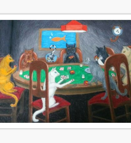 Cats Playing Go Fish Sticker