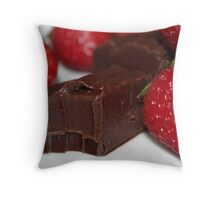 Strawberries and chocolate fudge Throw Pillow