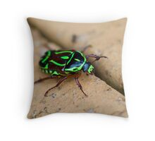 The Bug of Green and Black Throw Pillow