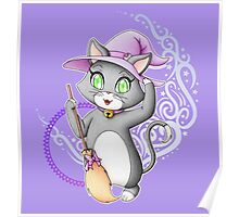 Cute witch cat Poster