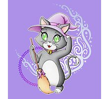 Cute witch cat Photographic Print