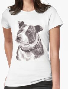 Staffordshire Bull Terrier in Pencil Womens Fitted T-Shirt