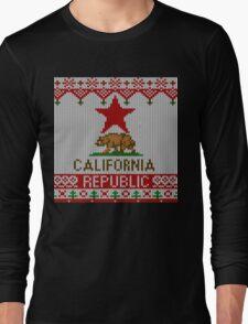 California Republic Bear on Christmas Ugly Sweater Long Sleeve T-Shirt