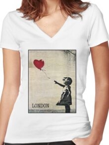 Banksy's Girl with a Red Balloon III Women's Fitted V-Neck T-Shirt