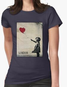 Banksy's Girl with a Red Balloon III Womens Fitted T-Shirt