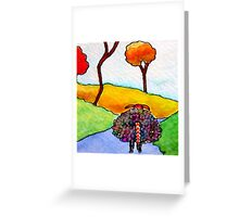 Woolly Sheep on a Blue Road Greeting Card