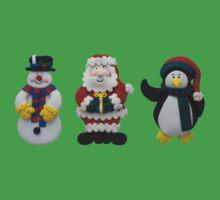 Christmas Snowman Santa and Penguin One Piece - Short Sleeve