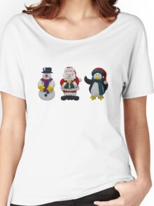 Christmas Snowman Santa and Penguin Women's Relaxed Fit T-Shirt