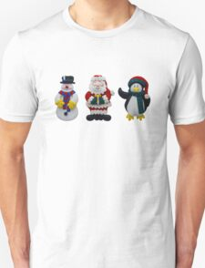 Christmas Snowman Santa and Penguin Unisex T-Shirt
