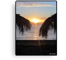 Summers coming..........Sunrise on Benitses beach Canvas Print