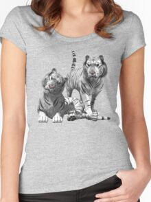 White Tigers .. Tee Shirt Women's Fitted Scoop T-Shirt
