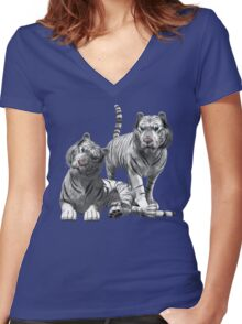 White Tigers .. Tee Shirt Women's Fitted V-Neck T-Shirt