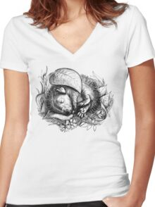 Baby hedgehog sleeping Women's Fitted V-Neck T-Shirt