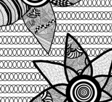 Black And White Abstract Floral Design Sticker