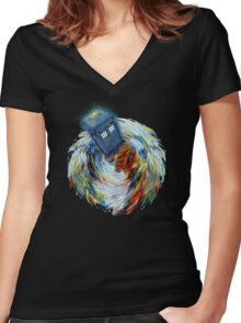 Blue Phone Booth jump into time Vortex art painting Women's Fitted V-Neck T-Shirt