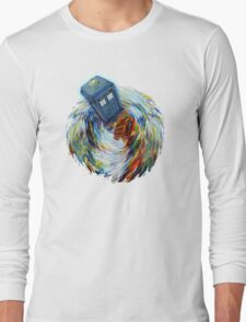 Blue Phone Booth jump into time Vortex art painting Long Sleeve T-Shirt