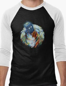 Blue Phone Booth jump into time Vortex art painting Men's Baseball ¾ T-Shirt