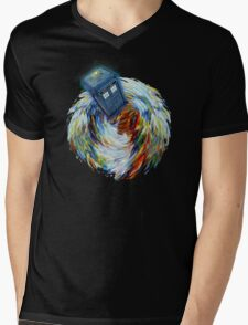Blue Phone Booth jump into time Vortex art painting Mens V-Neck T-Shirt