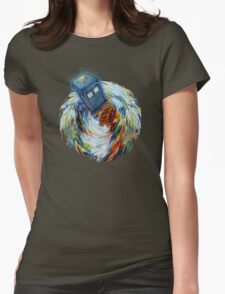 Blue Phone Booth jump into time Vortex art painting Womens Fitted T-Shirt