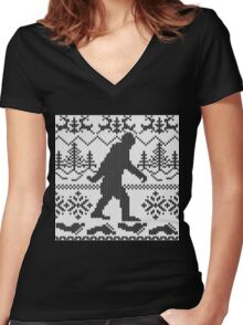 Gone Squatchin Ugly Christmas Sweater Knit Style Women's Fitted V-Neck T-Shirt