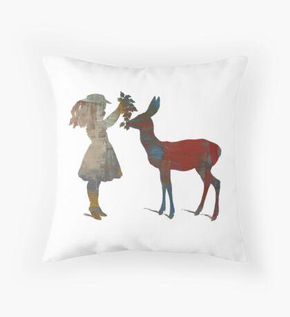 Girl Feeding Deer - Modern Digital Design Throw Pillow