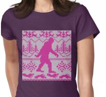 Gone Squatchin Ugly Christmas Sweater Knit Style Womens Fitted T-Shirt