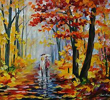 RAIN IN THE WOODS - LEONID AFREMOV by Leonid  Afremov