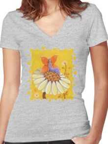 Singing Camomile Fairy Women's Fitted V-Neck T-Shirt