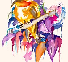 Bird and Plants Watercolour by Amy Liu