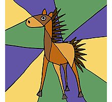 Funny Folk Art Colorful Horse Original Art Photographic Print