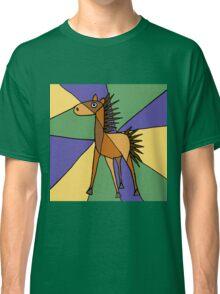 Funny Folk Art Colorful Horse Original Art Classic T-Shirt