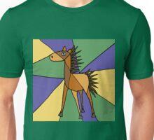 Funny Folk Art Colorful Horse Original Art Unisex T-Shirt