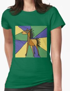 Funny Folk Art Colorful Horse Original Art Womens Fitted T-Shirt