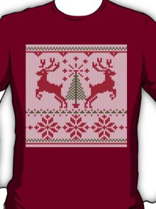 Holidays White Knit Ugly Christmas Sweater Ho Deer T-Shirt