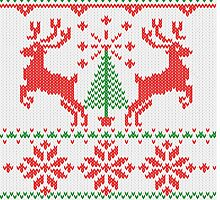 Holidays White Knit Ugly Christmas Sweater Ho Deer by Garaga