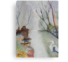 Heron and Morning Mist  Canvas Print