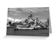Hms Belfast and city skyline Greeting Card