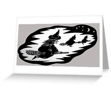 halloween witches on broomsticks night sky  Greeting Card