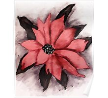 Pink Poinsetta, Watercolor Poster