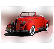 1936 Ford 'Old School' Convertible Coupe Poster