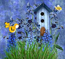 Larspur Garden with Yellow Canary by Doreen Erhardt