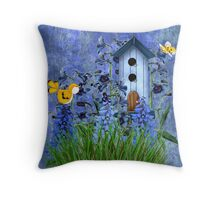 Larspur Garden with Yellow Canary Throw Pillow