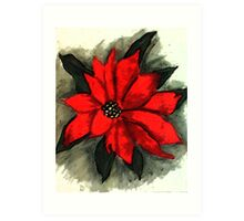 Red Poinsetta, Watercolor Art Print