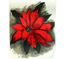 Red Poinsetta, Watercolor Poster