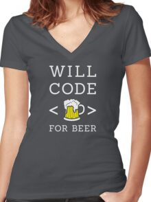 Will code for beer Women's Fitted V-Neck T-Shirt